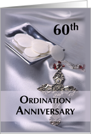 Invitation 60th Ordination Anniversary Silver Paten & Hosts with Cross card