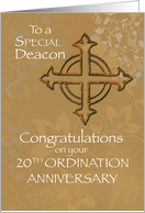 Deacon 20th Ordination Anniversary, Antique Gold Look Cross card