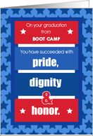 Boot Camp Graduation Congratulations Red, White, Blue Stripes Stars card