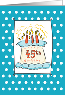 45th Birthday Cake on Blue Teal with Dots card
