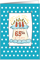 65th Birthday Cake on Blue Teal with Dots card