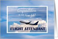 Flight Attendant, Congratulations New Job, Airplane in Clouds card