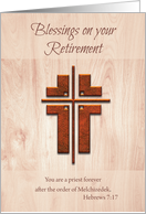 Retirement Blessings Priest, Cross on Wood card