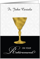 Custom Name Priest Retirement, Gold Chalice, on Black & White card