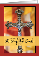 Feast of All Souls Crucifix with Color Block Background. card