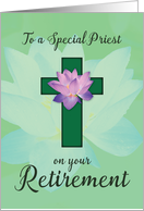 Priest Retirement, Lotus Flower on Green Cross card