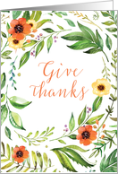 Give Thanks Thanksgiving Wreath card