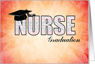 Nurse Graduation in Words on Orange and Yellow Vibrant Background card