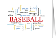 Baseball Birthday with Words card