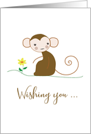 Thiking of You, Monkey with flower, Religious card