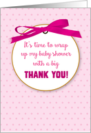 Baby Girl Shower Gift Thank You for Presents with Pink Digital Ribbon card