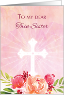 Twin Sister Religious Easter Blessings Watercolor Look Flowers card