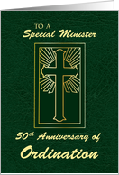 Minister 50th Anniversary of Ordination Green Leather Look card