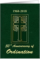 Custom Year Anniversary of Ordination Green Leather Look card