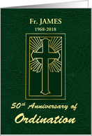 Custom Name & Year 50th Anniversary of Ordination Green Leather Look card