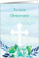 Godparents Teal Blue Flowers with Cross Easter card