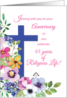 45th Anniversary Nun Religious Life Cross and Flowers card