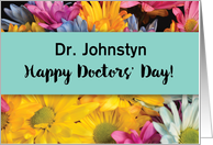 Custom Name Doctors' Day Thanks Gerbera Daisies card