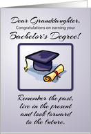 Granddaughter, Bachelor's Degree Graduation, Remember the Past card