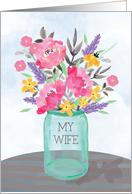 For My Wife Mother's Day Jar Vase with Flowers card