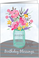 Grandma Birthday Blessings Jar Vase with Flowers card