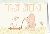 First Steps Walking Bear and Rabbit card