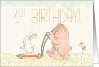 Twins First Birthday Walking Bear and Rabbit card