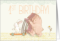 Quadruplets First Birthday Walking Bear and Rabbit card