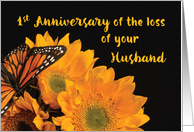 Religious First Anniversary of Loss of Husband Butterfly on Sunflowers card