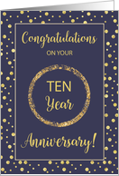 Ten Years Business Anniversary Navy and Gold-Look Dots card