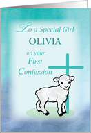 Girl Personalize First Confession Lamb and Cross card