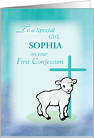 Girl Personalize Name First Confession Lamb Cross card