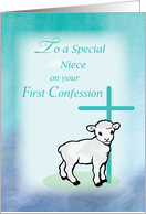 Niece First Confession Lamb Cross on Teal and Purple card