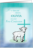 Sister Personalize Name First Confession Lamb Cross card