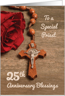 Priest 25th Ordination Anniversary Red Rose and Rosary card