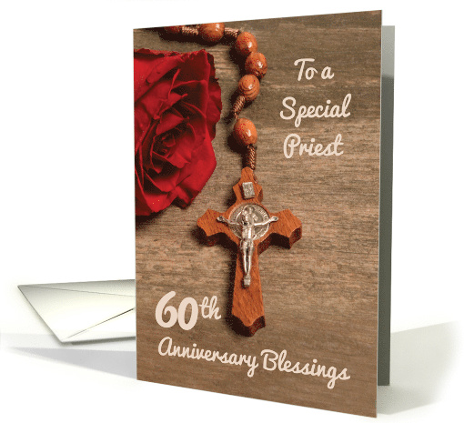 Priest 60th Ordination Anniversary Red Rose and Rosary card (1553248)