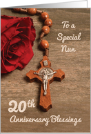 Nun 20th Anniversary Red Rose and Rosary card
