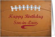 Son-In-Law Birthday Large Grunge Football for Sports Fan card