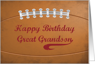 Great Grandson Birthday Large Grunge Football for Sports Fan card