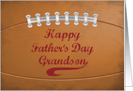 Grandson Father's Day Large Grunge Football for Sports Fan card