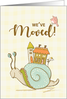 We Moved Announcement Snail with House card