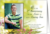 2nd Anniversary of Loving Son Death Custom Photo Personalized Flowers, card