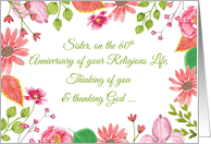 Nun Religious Jubilee 60th Anniversary Watercolor Flowers card