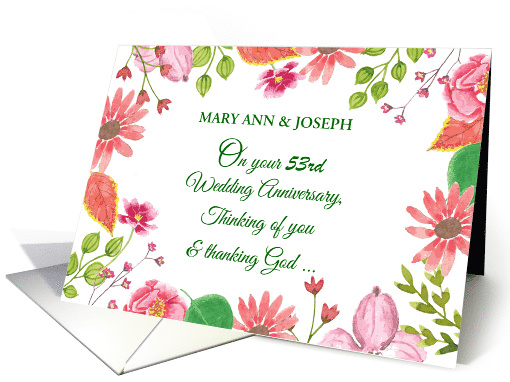 Custom Name and Year Religious 53rd Wedding Anniversary Flowers card