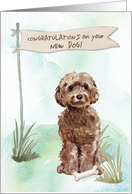 Brown Cockapoo Congratulations on New Dog card