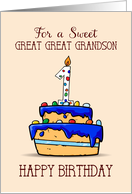 Great Great Grandson 1st Birthday, 1 on Sweet Blue Cake card