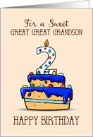 Great Great Grandson 2nd Birthday, 2 on Sweet Blue Cake card