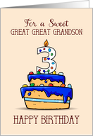 Great Great Grandson 3rd Birthday, 3 on Sweet Blue Cake card