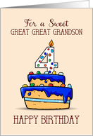 Great Great Grandson 4th Birthday, 4 on Sweet Blue Cake card