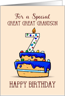 Great Great Grandson 7th Birthday, 7 on Sweet Blue Cake card